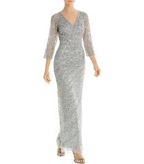 adrianna papell long beaded gown