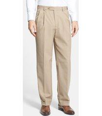 men's berle self sizer waist plain weave flat front washable trousers, size 40 x unh - beige