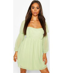 dobby chiffon square neck dress, sage