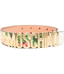 moschino logo-lettering floral-print belt - red