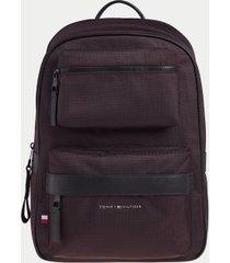 tommy hilfiger men's dual pocket utility backpack deep burgundy -