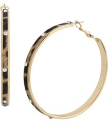 jessica simpson stone leopard hoop earrings
