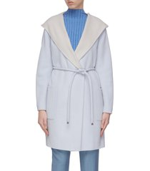 double face hooded belted cashmere coat