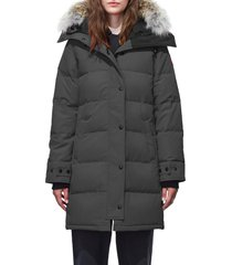petite women's canada goose shelburne fusion fit genuine coyote fur trim down parka, size xx-smallp - grey