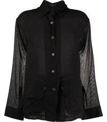 ann demeulemeester oversized belted shirt - black