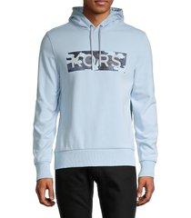 michael kors men's graphic cotton-blend hoodie - chambray - size l
