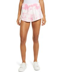 women's nia rosa tie dye terry shorts, size small - pink