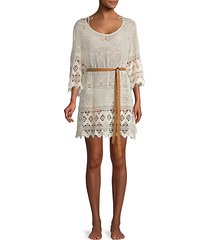 lace belted cotton coverup