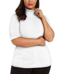 anne klein plus size solid elbow-sleeve turtleneck sweater