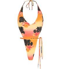 amir slama ilha de hibiscus high-leg swimsuit - multicolour