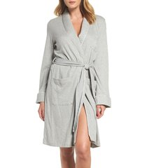 women's lauren ralph lauren quilted collar robe, size large - grey (online only)