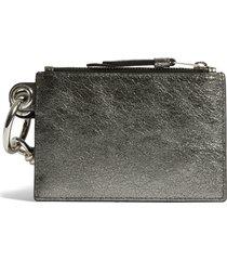 women's allsaints miki metallic leather zip pouch & card case -