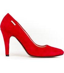 skórzane szpilki zapato 035 czerwony nubuk