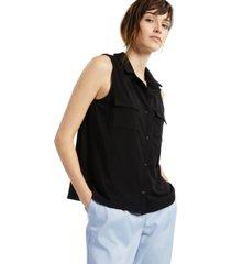 alfani petite notched-lapel sleeveless shirt, created for macy's