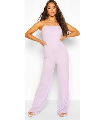 gescherud bandeau jumpsuit met wijde pijpen, violet