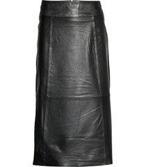 slfardee hw leather skirt b knälång kjol svart selected femme