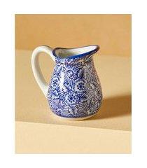 jarra em cerâmica estampada cor: azul - tamanho: único