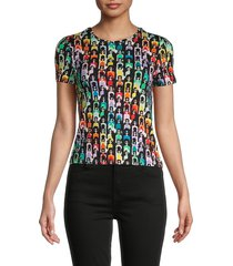 alice + olivia women's rylyn rainbow stace face cropped t-shirt - rainbow - size xs
