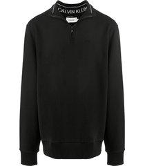 calvin klein high-neck cotton sweatshirt - black