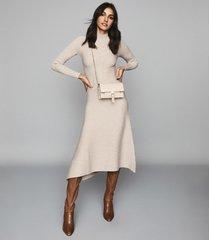 reiss leo - turtleneck knitted dress in stone, womens, size xl