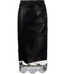 ader error lace-trimmed leather skirt - black