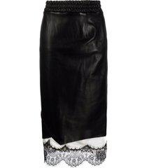 ader error lace-trimmed leather skirt - black
