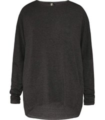 blusa feminina manga longa recorte cotovelo preto cinza