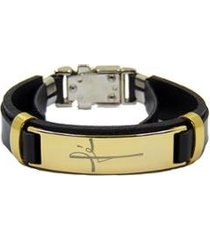 bracelete couro via luna religião masculino