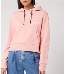balmain women's short flocked logo detail hoodie - rose - l