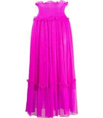 msgm smocked-waist crinkle-chiffon skirt - purple