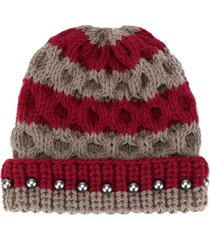 0711 crystal bead knit beanie - grey