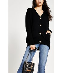 river island womens black ribbed cardigan