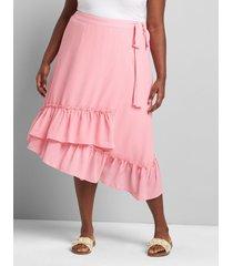lane bryant women's wrap midi skirt 14/16 sachet pink