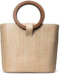 borsa da donna con tracolla in paglia intrecciata borsa in legno massello intrecciata