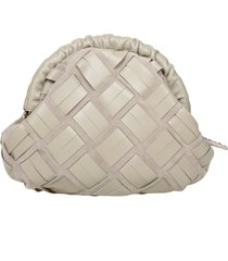 furla essential s clutch woven leather color mud