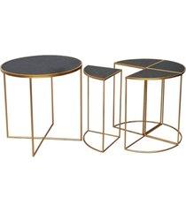 mesa lateral de metal dourado e madeira 2 peã§as - incolor - dafiti