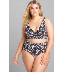 lane bryant women's underwire plunge keyhole swim bikini top 44d zebra