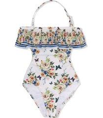 monnalisa rose print swimsuit - white