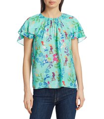 tanya taylor women's eve printed ruffle blouse - collage floral - size s (4-6)
