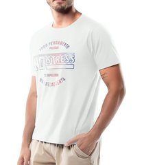 camiseta estampa logo no stress branca - kanui