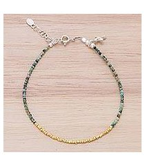 gold accent silver beaded bracelet, 'gilded sea' (thailand)