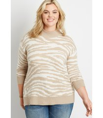 maurices plus size womens zebra print mock neck pullover sweater beige