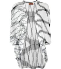 missoni flamed open front long top - white