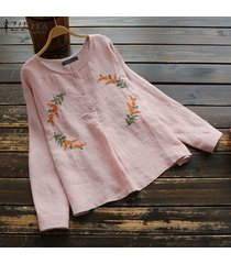 zanzea botones para mujer camisa casual de manga larga tops cuello redondo blusa étnica de ganchillo -rosado