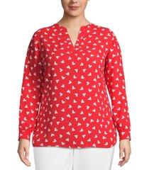 anne klein plus size charleston split-neck blouse
