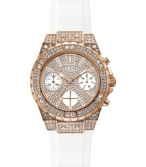 guess women's white silicone bracelet watch 39mm