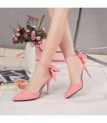 ps376 cutie pointy strappy ankle pump w bowtie end,stiletto  us size 4-8.5, pink