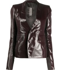 rick owens fitted patent blazer - brown