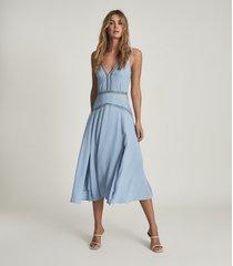 reiss alberta - pleat detailed midi dress in blue, womens, size 14