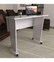 mesa para computador multiuso dobrável scott com rodízio branco - pnr móveis